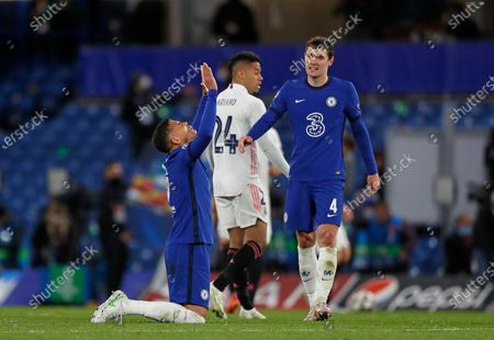 Chelsea's Thiago Silva, left, celebrates with his teammate Andreas Chistensen at the end of the Champions League semifinal 2nd leg soccer match between Chelsea and Real Madrid at Stamford Bridge in London, . Chelsea won 2-0