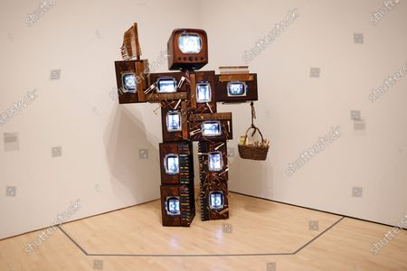 The San Francisco Museum of Modern Art (SFMOMA) presents 'John Cage Robot II, 1995' from the work of the late Nam June Paik, Korean American artist, who is considered to be the founder of video art during a press preview of his first-ever retrospective exhibition in San Francisco, California, USA, 05 May 2021.