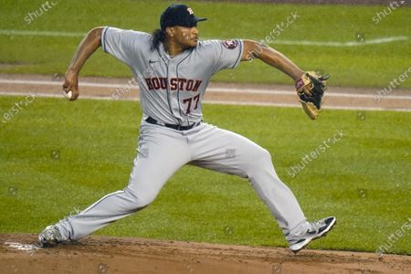 Houston Astros' Luis Garcia (77) delivers a pitch during the first inning of a baseball game against the New York Yankees, in New York