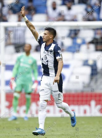 Maximiliano Meza of Mexico's Monterrey celebrates after scoring the opening goal against Unites States' Columbus Crew during a Concacaf Champions League soccer game in Leon, Mexico, in Monterrey