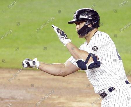 New York Yankees Giancarlo Stanton hits an RBI double in the fifth inning against the Houston Astros at Yankee Stadium on Wednesday, May 5, 2021 in New York City.        Photo by John Angelillo/UPI