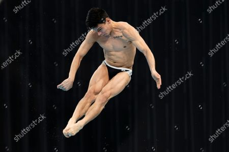 Rodrigo Diego Lopez of Mexico competes in the semifinals of the men's 3-meter springboard during the FINA Diving World Cup in Tokyo on . The Diving World Cup is serving as the final Olympic qualifier in diving and as a test event for the Tokyo 2020 Olympic Games
