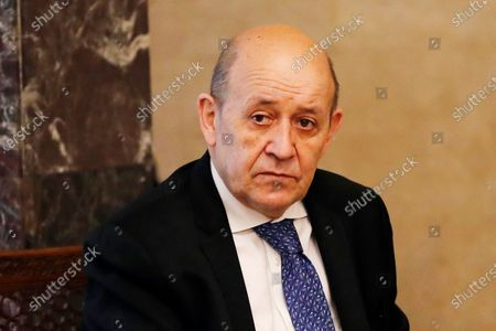 French Foreign Minister Jean-Yves Le Drian, looks on as he meets with Lebanese President Michel Aoun at the Presidential Palace in Baabda, east of Beirut, Lebanon, . Le Drian is in Beirut for two days visit to meet with Lebanese officials