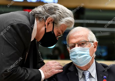 Stock Picture of EU Commissioner for Internal Market Thierry Breton (L) talks with European High Representative of the Union for Foreign Affairs Josep Borrell during a Defence ministers meeting at the EU headquarters in Brussels, Belgium, 06 May 2021.