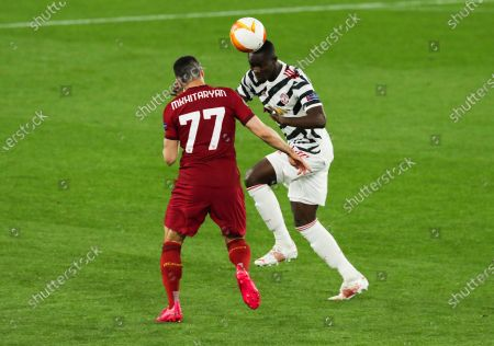 Stock Picture of Eric Bailly of Manchester United and Henrikh Mkhitaryan of Roma