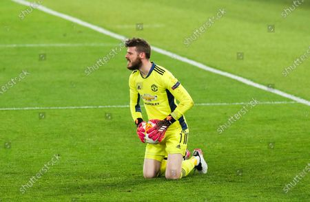 Stock Image of Manchester United goalkeeper David De Gea claims the ball