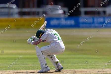 Sam Evans ducks a bouncer during Day 1 of the LV= Insurance County Championship match between Leicestershire County Cricket Club and Surrey County Cricket Club at the Uptonsteel County Ground, Leicester