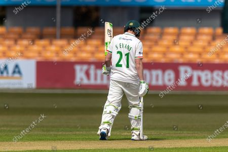 50 - Sam Evans acknowledges his team mates on reaching 50 during Day 1 of the LV= Insurance County Championship match between Leicestershire County Cricket Club and Surrey County Cricket Club at the Uptonsteel County Ground, Leicester