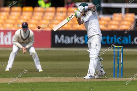 50 - Sam Evans cuts for 4 to bring up his 50 during Day 1 of the LV= Insurance County Championship match between Leicestershire County Cricket Club and Surrey County Cricket Club at the Uptonsteel County Ground, Leicester