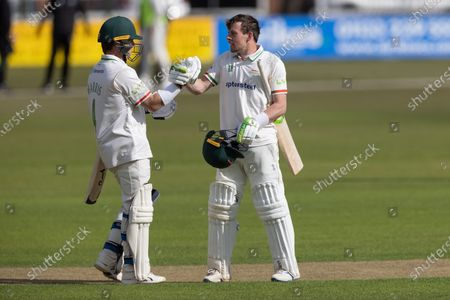 100 - Marcus Harris & Sam Evans congratulate each other on making 100's during Day 1 of the LV= Insurance County Championship match between Leicestershire County Cricket Club and Surrey County Cricket Club at the Uptonsteel County Ground, Leicester