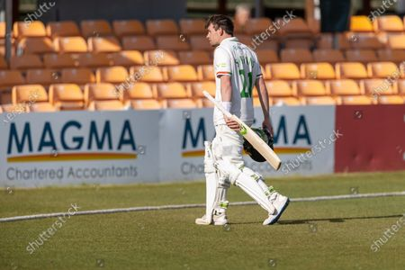 Sam Evans is out for 112 during Day 1 of the LV= Insurance County Championship match between Leicestershire County Cricket Club and Surrey County Cricket Club at the Uptonsteel County Ground, Leicester
