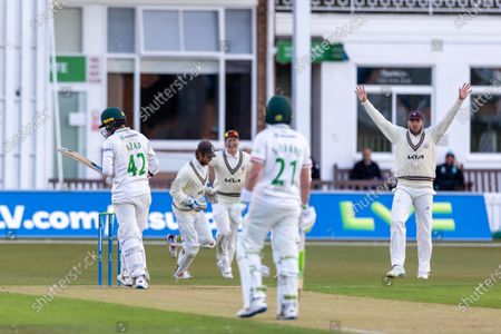 Stock Picture of WICKET - 42 is caught by Ben Foakes off the bowling of Reece Topley during Day 1 of the LV= Insurance County Championship match between Leicestershire County Cricket Club and Surrey County Cricket Club at the Uptonsteel County Ground, Leicester