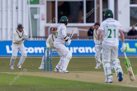 WICKET - 42 is caught by Ben Foakes off the bowling of Reece Topley during Day 1 of the LV= Insurance County Championship match between Leicestershire County Cricket Club and Surrey County Cricket Club at the Uptonsteel County Ground, Leicester