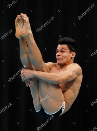 Stock Image of Rodrigo Diego Lopez of Mexico in action during the men's 3m springboard final of the FINA Diving World Cup 2021 at Tokyo Aquatics Center in Tokyo, Japan, 06 May 2021.