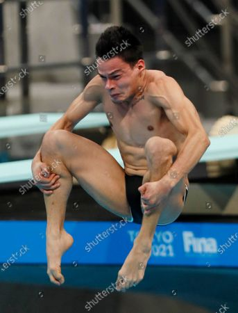 Rodrigo Diego Lopez of Mexico in action during the men's 3m springboard final of the FINA Diving World Cup 2021 at Tokyo Aquatics Center in Tokyo, Japan, 06 May 2021.