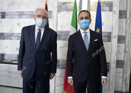 Stock Photo of Italian Minister of Foreign Affairs Luigi Di Maio (R) receives his Palestinian counterpart Riad Malki at Farnesina in Rome, Italy, 06 May 2021.