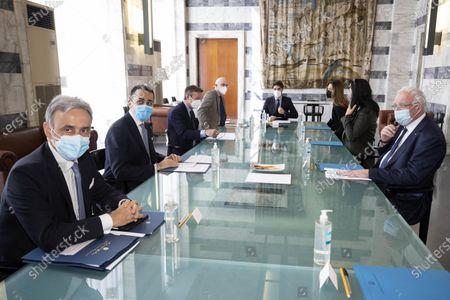 Stock Picture of Italian Minister of Foreign Affairs Luigi Di Maio (2-L) receives his Palestinian counterpart Riad Malki (R) at Farnesina in Rome, Italy, 06 May 2021.