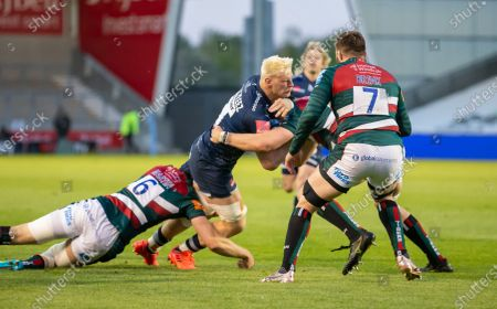 Jean-Luc du Preez of Sale Sharks is tackled by George Martin of Leicester Tigers; AJ Bell Stadium, Salford, Lancashire, England; English Premiership Rugby, Sale Sharks versus Leicester Tigers.