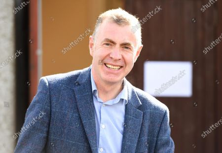 Stock Picture of Plaid Cymru leader Adam Price after voting in the Senedd election at his local polling station Pontargothi Memorial Hall, Pontargothi, Carmarthen.