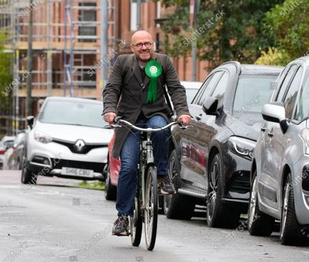 Scottish Green Party Co-leader Patrick Harvie arrives to cast his vote at the polling station at Notre Dame Primary School in the west end of Glasgow today.
