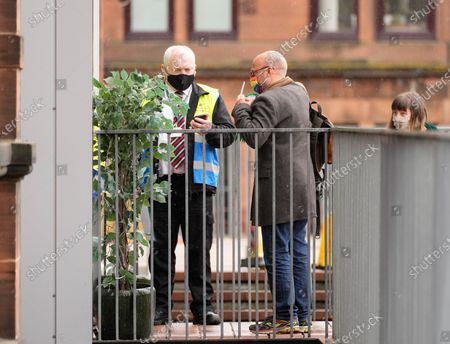 Scottish Green Party Co-leader Patrick Harvie arrives at the polling station at Notre Dame Primary School in the west end of Glasgow to cast his vote on Scottish Election Day.