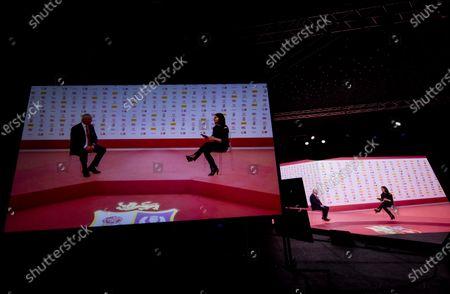Stock Picture of British and Irish Lions Head Coach Warren Gatland with presenter Lee McKenzie