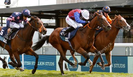 MERCURIAL (centre, Hayley Turner) beats RUSSELLINTHEBUSHES (right) and ZOLTAN STAR (left) in The British Stallion Studs EBF Maiden Stakes Chester