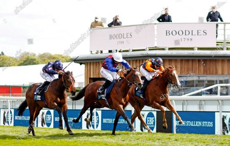 Stock Image of MERCURIAL (centre, Hayley Turner) beats RUSSELLINTHEBUSHES (right) and ZOLTAN STAR (left) in The British Stallion Studs EBF Maiden Stakes Chester