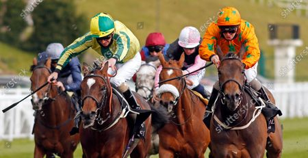 LOVE IS GOLDEN (right, Franny Norton) beats BAILEYS DERBYDAY (left) in The Boodles Handicap Chester