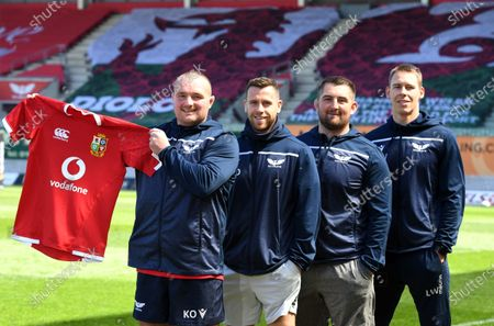 Stock Image of (L-R) Ken Owens, Gareth Davies, Wyn Jones and Liam Williams of Scarlets and Wales after being named in the British & Irish Lions squad to tour South Africa this summer.