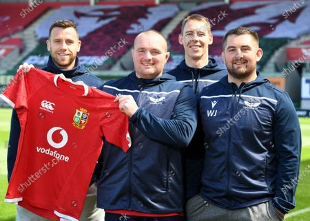 Stock Picture of (L-R) Gareth Davies, Ken Owens, Liam Williams and Wyn Jones of Scarlets and Wales after being named in the British & Irish Lions squad to tour South Africa this summer.