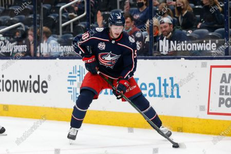 Columbus Blue Jackets' Eric Robinson plays against the Nashville Predators during an NHL hockey game, in Columbus, Ohio