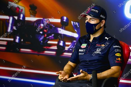 Mexican Formula One driver Sergio Perez of Red Bull Racing  during the press conference of the Formula One Grand Prix of Spain at Circuit de Barcelona-Catalunya in Barcelona, Spain, 06 May 2021. The Formula One Grand Prix of Spain will take place on 09 May 2021.