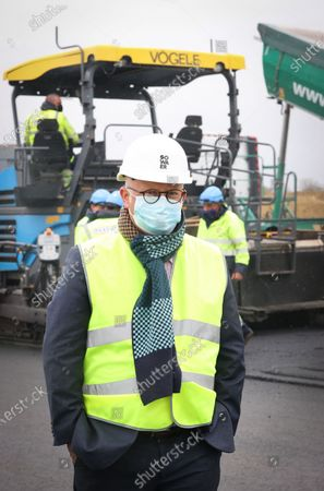 Stock Picture of Walloon Ministre of Budget and Finances, Airports and Sports Infrastructure Jean-Luc Crucke pictured during a press visit to the construction works to prolong the take-off and landing strip at Charleroi Airport, Thursday 06 May 2021, in Gosselies, Charleroi.