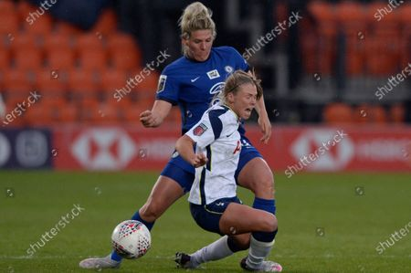 Rianna Dean of Tottenham Hotspur Women is fouled by Millie Bright Chelsea Women  during WomenÕs Super League match between Tottenham Hotspur Women and Chelsea Women at The Hive Stadium in London - 5th May 2021