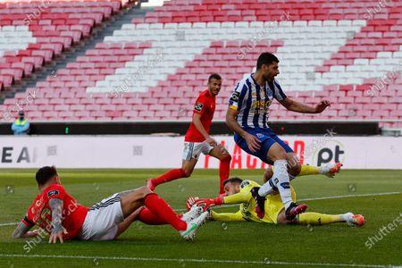 Helton Leite saves from Mehdi Taremi during the Liga NOS match between Benfica and FC Porto at Estadio da Luz, Benfica