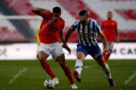 Lucas Verissimo and Mehdi Taremi in action during the Liga NOS match between Benfica and FC Porto at Estadio da Luz, Benfica