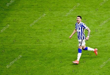 Nemanja Radonjic of Hertha Berlin celebrates after scoring his team's third goal during the German Bundesliga soccer match between Hertha BSC and SC Freiburg in Berlin, Germany, 06 May 2021.