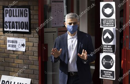 Mayor of London Sadiq Khan emerges from his local polling station on election day. Local and mayoral elections are taking place in the England, with National Assembly elections in Wales and Scotland.