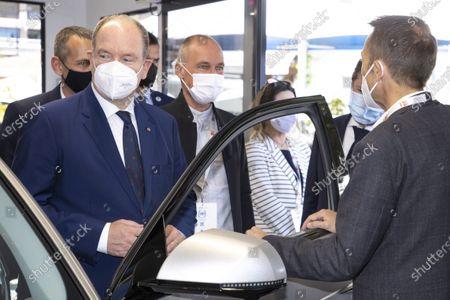 (G) SAS Prince Albert II of Monaco, visit EVER, (D) Bertrand Piccard (Founder and President of the Solar Impulse Foundation), Espace Fontvieille Monaco, Monte-Carlo