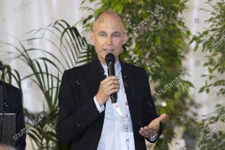 Stock Image of Bertrand Piccard (Founder and President of the Solar Impulse Foundation), Presentation of the 1000 solutions for the environment, at the signing of a Memorandum of Understanding aimed at reducing the use of plastics and combating plastic pollution in the Mediterranean Sea, at the EVER salon, Espace Fontvieille Monaco, Monte-Carlo MONACO - 06/05/202 SYSPEO_sysA005/2105061833/Credit:SYSPEO/SIPA/2105061837
