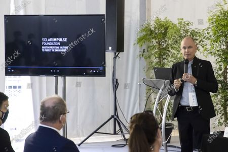 Bertrand Piccard (Founder and President of the Solar Impulse Foundation), Presentation of the 1000 solutions for the environment, at the signing of a Memorandum of Understanding aimed at reducing the use of plastics and combating plastic pollution in the Mediterranean Sea, at the EVER salon, Espace Fontvieille Monaco, Monte-Carlo MONACO - 06/05/202 SYSPEO_sysA003/2105061832/Credit:SYSPEO/SIPA/2105061837