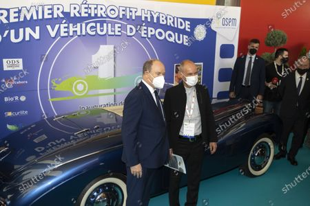 (G) SAS Prince Albert II of Monaco, (D) Bertrand Piccard (Founder and President of the Solar Impulse Foundation), visit of the EVER exhibition, Espace Fontvieille Monaco, Monte-Carlo