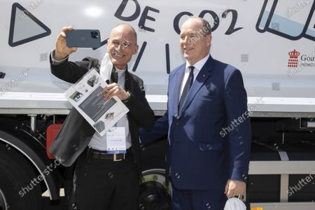 (D) SAS Prince Albert II of Monaco, (G) Bertrand Piccard (Founder and President of the Solar Impulse Foundation), visit of the EVER exhibition, Espace Fontvieille Monaco, Monte-Carlo