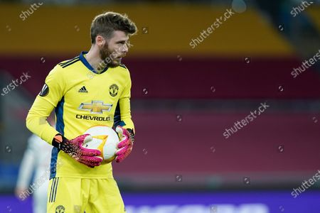 David De Gea of Manchester United looks on during the UEFA Europa League Semi-Final match between AS Roma and Manchester United at Stadio Olimpico, Rome, Italy on 6 May 2021.