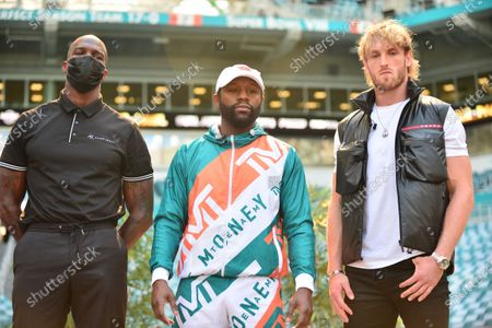 Former NFL player Chad Johnson, US pro boxer Floyd Mayweather Jr and US Youtuber Logan Paul attend a press conference at Hard Rock Stadium, in Miami Gardens, Florida. Mayweather and Paul are scheduled to face off in an exhibition bout June 6 and Chad Johnson making his boxing debut.6 May 2021