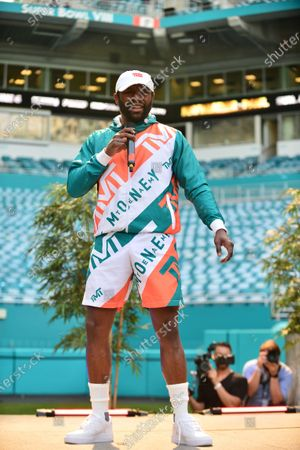 US pro boxer Floyd Mayweather Jr attends a press conference at Hard Rock Stadium, in Miami Gardens, Florida. Floyd Mayweather Jr and Logan Paul are scheduled to face off in an exhibition bout June 6 May 2021