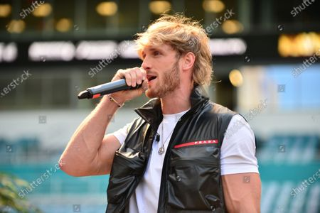 US Youtuber Logan Paul attend a press conference at Hard Rock Stadium, in Miami Gardens, Florida. Floyd Mayweather Jr and Logan Paul are scheduled to face off in an exhibition bout June 6 May 2021
