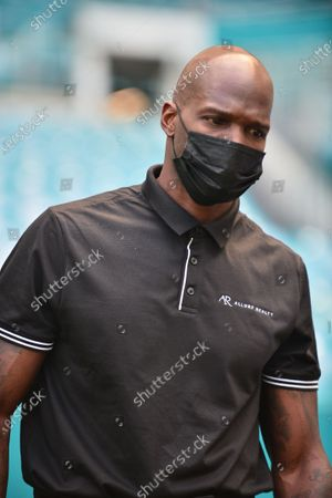 Stock Image of Former NFL player Chad Johnson attend a press conference at Hard Rock Stadium, in Miami Gardens, Florida. Floyd Mayweather Jr and Lodan Paul are scheduled to face off in an exhibition bout June 6 and Chad Johnson making his boxing debut.6 May 2021