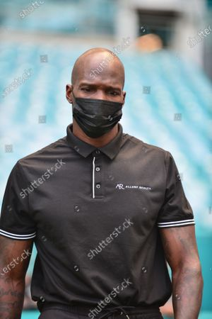 Former NFL player Chad Johnson attend a press conference at Hard Rock Stadium, in Miami Gardens, Florida. Floyd Mayweather Jr and Lodan Paul are scheduled to face off in an exhibition bout June 6 and Chad Johnson making his boxing debut.6 May 2021
